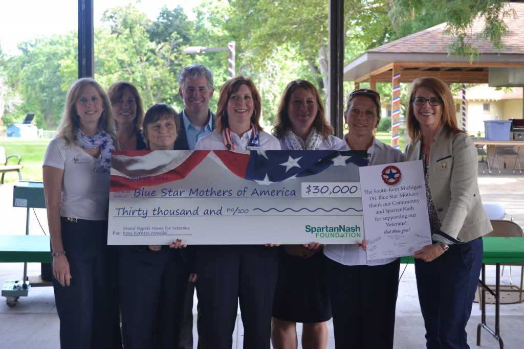 On Aug. 18, the SpartanNash Foundation donated $30,000 to four West Michigan chapters of the Blue Star Mothers of America, Inc. The money will be used to renovate Kozy Korners, the recreational room at the Grand Rapids Home for Veterans.